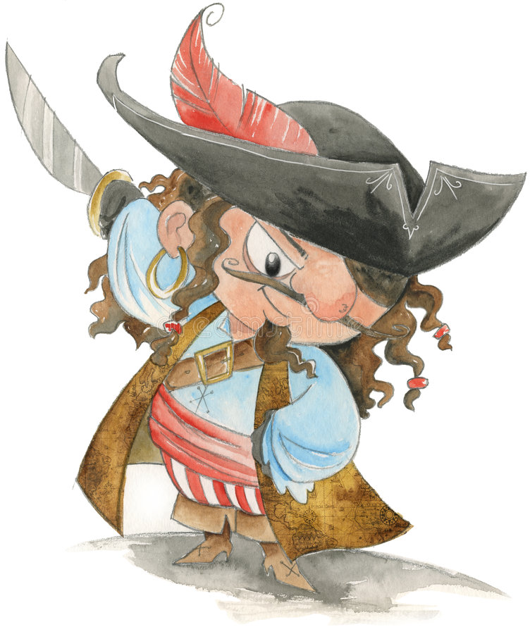 Funny Pirate- Watercolor Royalty Free Stock Images