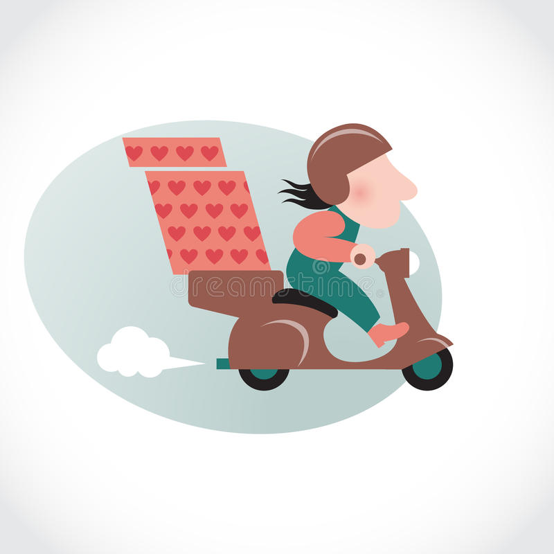 Funny Pizza Delivery Man On Brown Motorbike. Royalty Free Stock Images