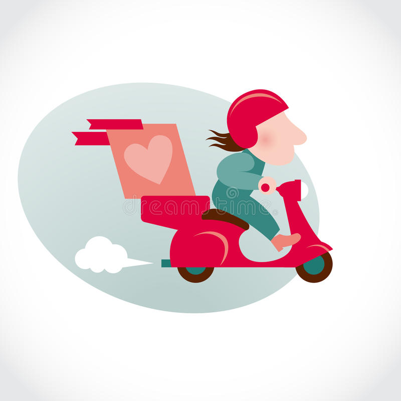 Download Funny Pizza Delivery Man On Red Motorbike. Stock Vector - Image: 36707723