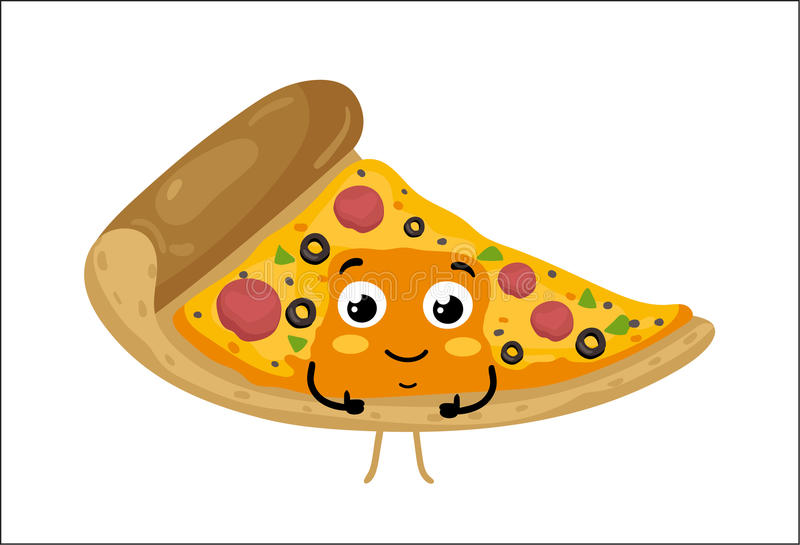 Funny pizza slice isolated cartoon character. Cute pizza slice cartoon character isolated on white background vector illustration. Funny fast food restaurant vector illustration