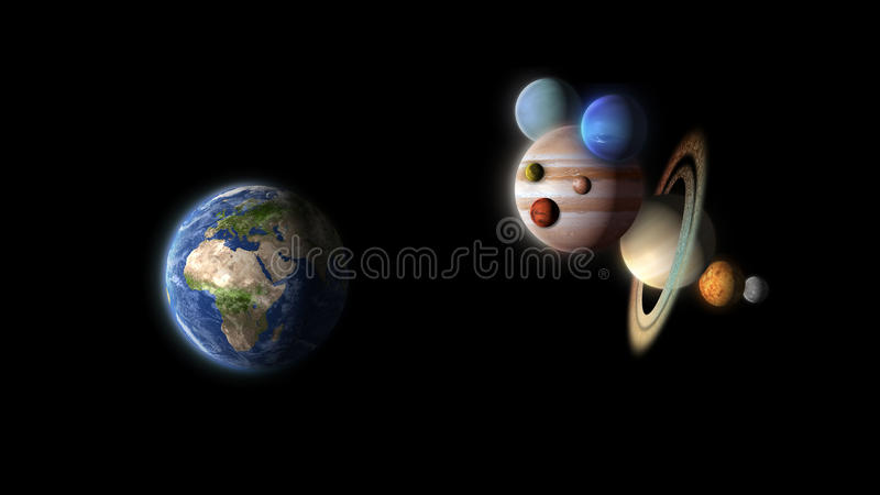 Funny planets puppet watching earth isolated on black royalty free illustration