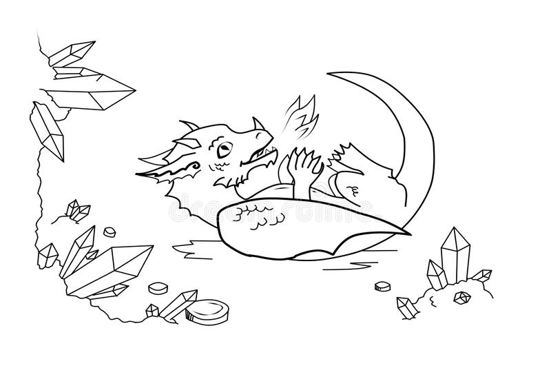 Funny playful dragon in the cave stock illustration