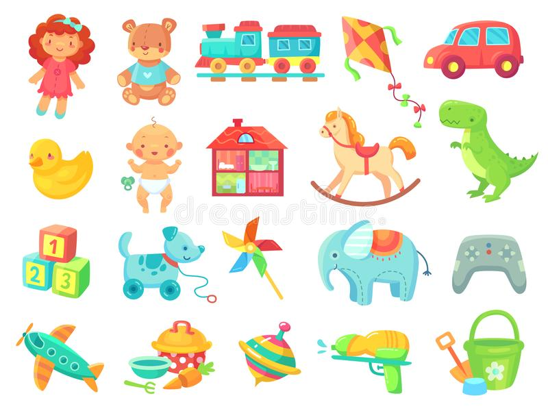 Funny plush bear girl doll toy car colorful plastic toys objects vector collection vector illustration