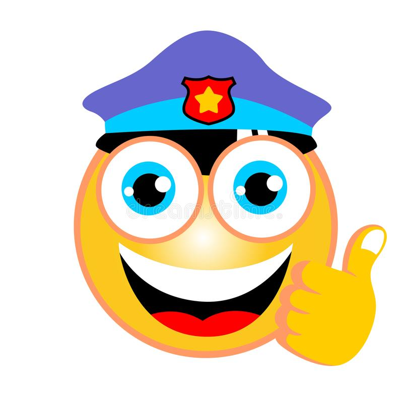 Funny emoticon cartoon vector with police hat on white background royalty free illustration