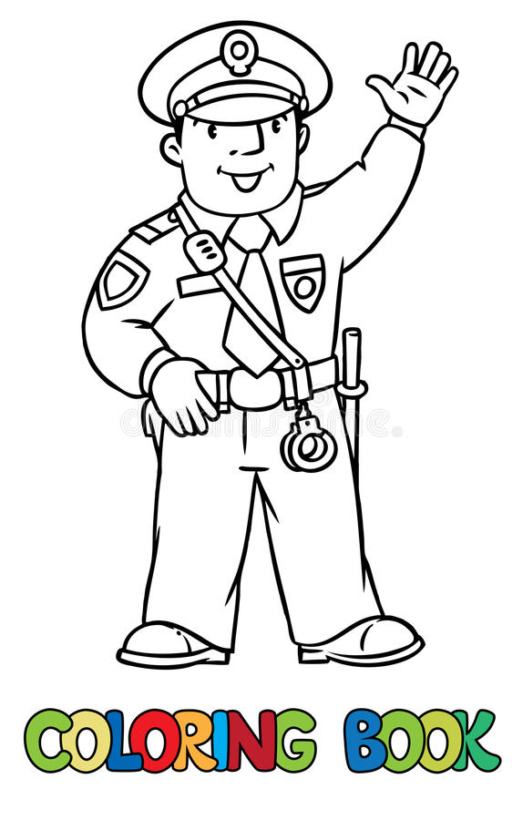 Funny policeman. Coloring book stock illustration