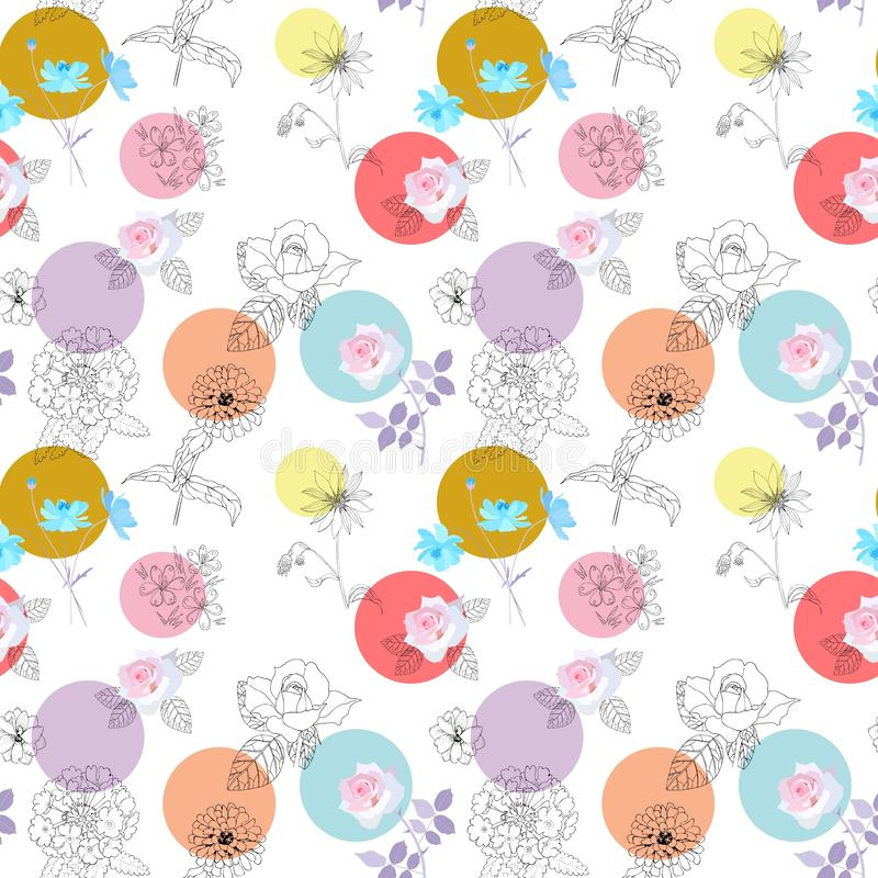 Funny polka dot and gardening flowers on white background. Beautiful seamless pattern. stock illustration