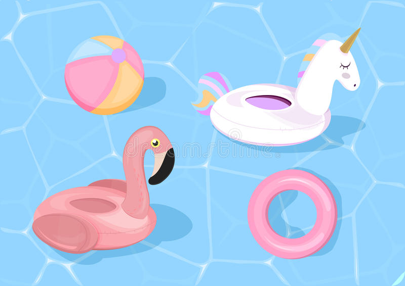 Download Funny Pool Floats With Flamingo And Unicorn Vector Illustration Toys On Blue