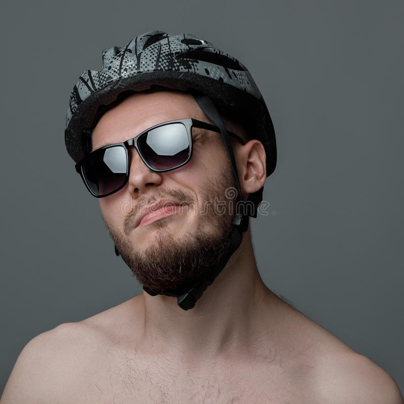 Funny portrait of cyclist royalty free stock image