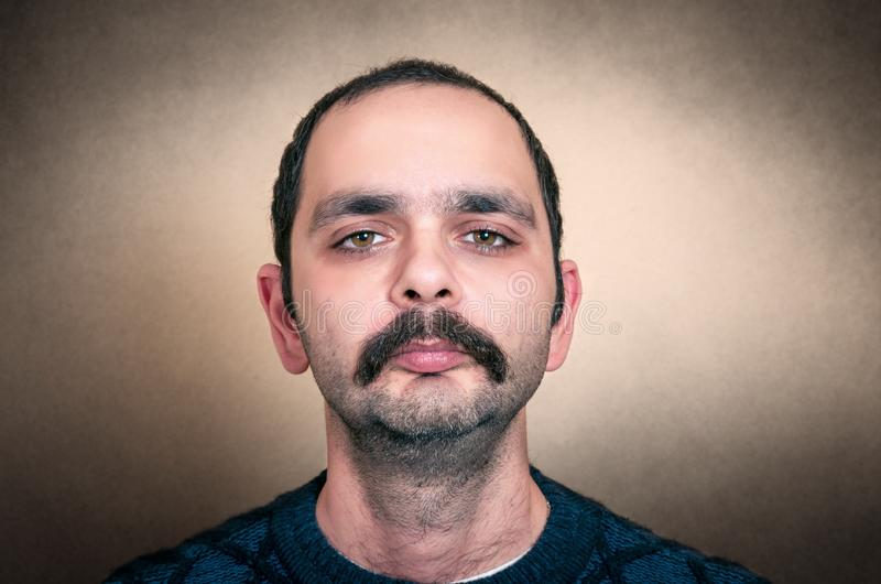 Funny portrait of man with mustache royalty free stock images