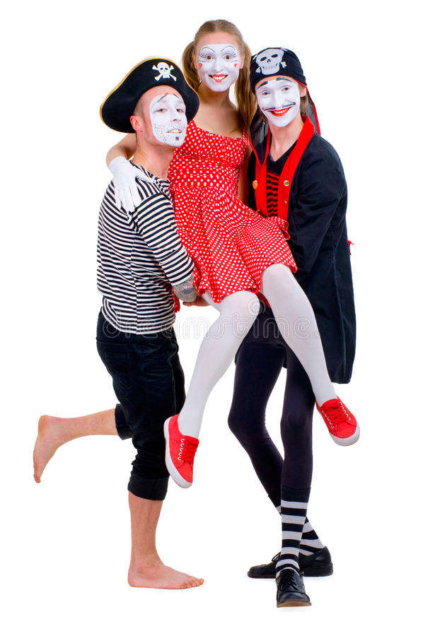 Funny Portrait Of Mimes Royalty Free Stock Photography