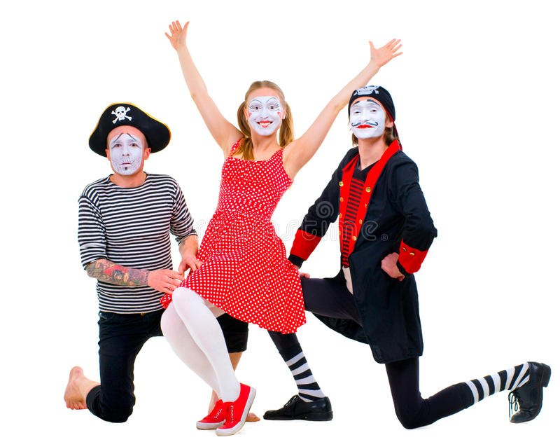 Download Funny portrait of mimes stock image. Image of caucasian - 32109263
