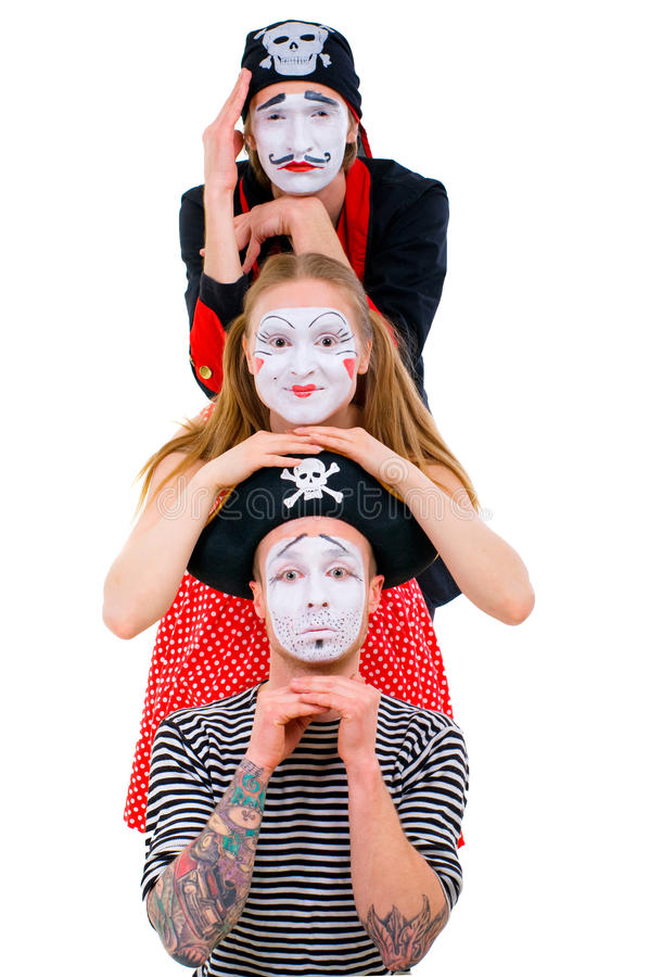 Download Funny portrait of mimes stock photo. Image of lover, emotional - 32109264