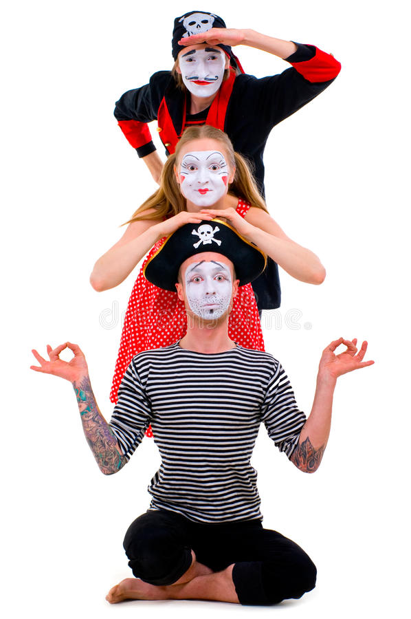 Download Funny portrait of mimes stock photo. Image of girl, amazed - 32109276