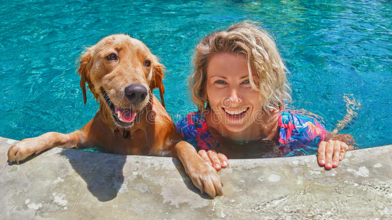 Funny portrait of smiley woman with dog in swimming pool. Funny portrait of smiling woman playing with dog and training golden retriever puppy in blue swimming stock photography
