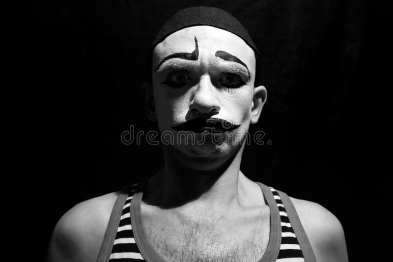 Funny portrait of theatrical mime royalty free stock photography