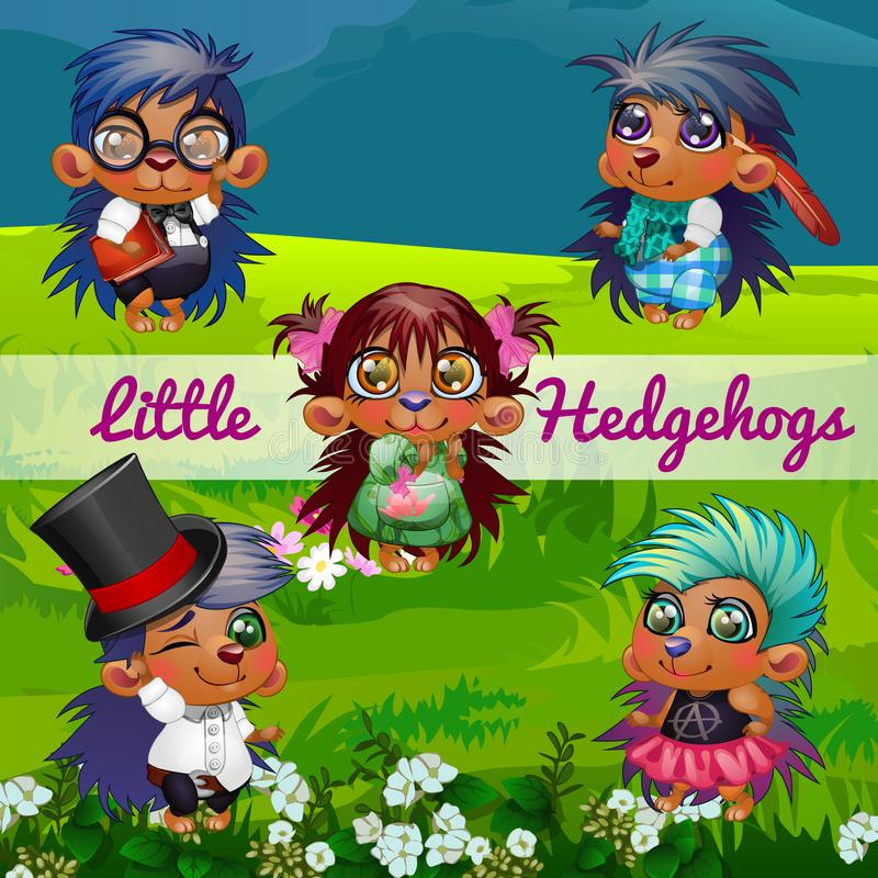 Funny poster with image of cute hedgehogs on a background of green grass on the lawn. Sample design of placard with cute. Funny animals. Vector cartoon close-up royalty free illustration