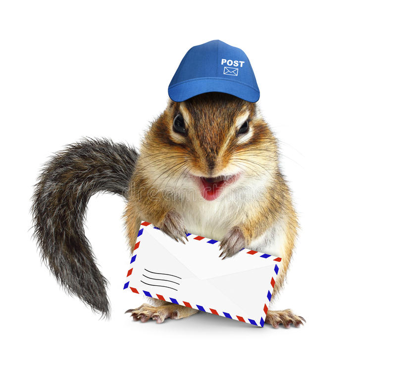 Free Funny Postman Chipmunk With Air Mail Letter Stock Photography - 60346052