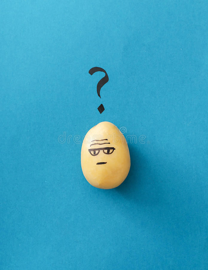 Funny potato. Art. Funny potato on a blue background royalty free stock image