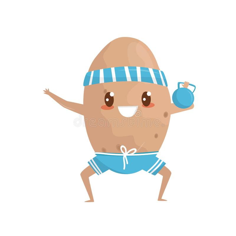 Funny potato doing squat exercises with weight, sportive vegetable cartoon character doing fitness exercise vector vector illustration