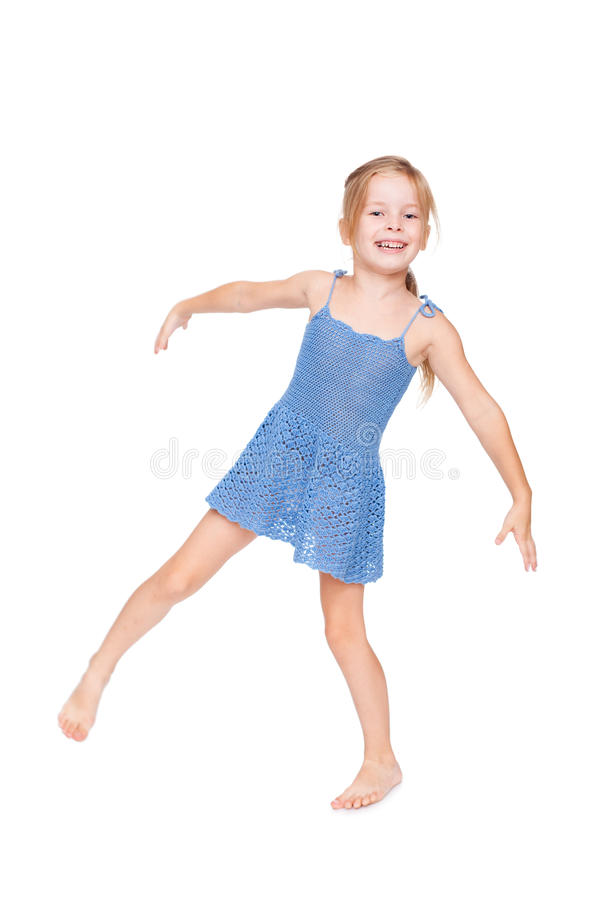 Funny Pretty Little Girl In Blue Dress Royalty Free Stock Photo