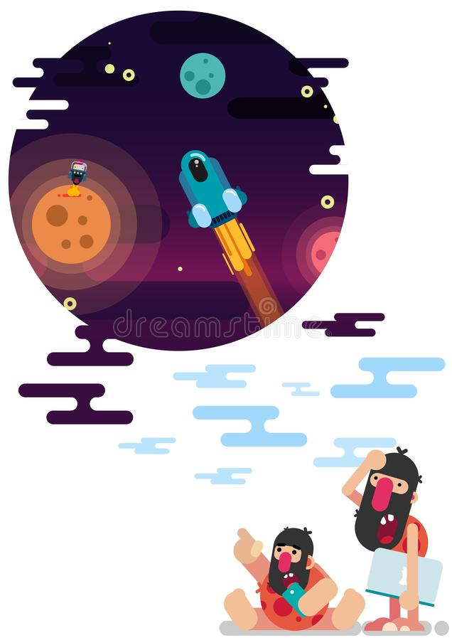 Funny primitive people with modern technology. stock illustration