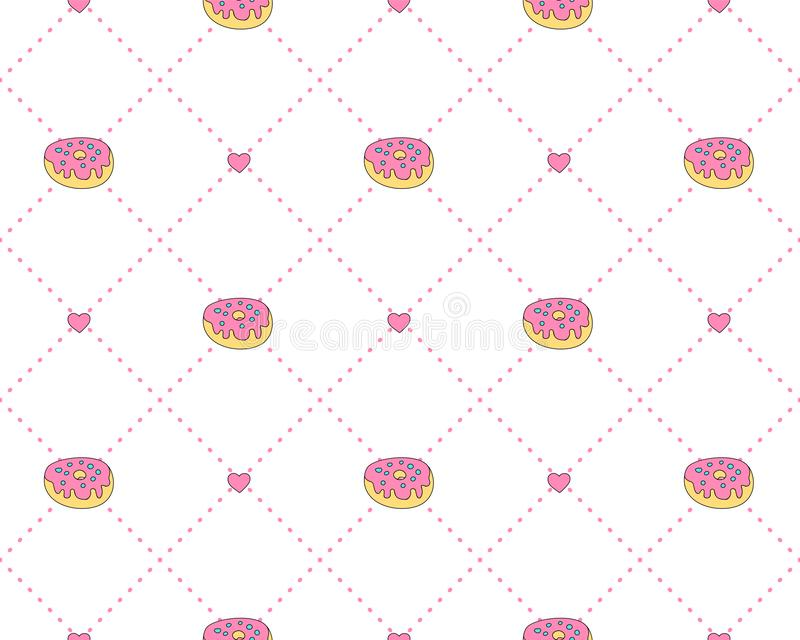 Funny princess pattern with geometrical structure and sweet donuts. Donut sweets princess pattern, cute teen fashion vector illustration