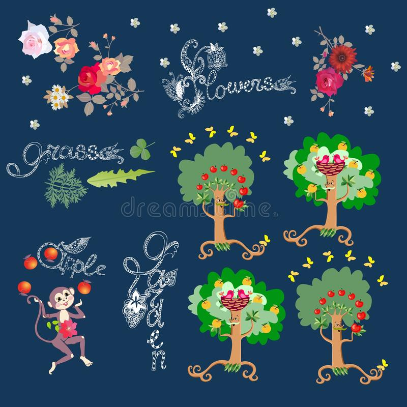 Funny print with lettering and cute cartoon characters. Cheerful monkey, dancing apple trees, birds and butterflies. Vector illustration for children vector illustration