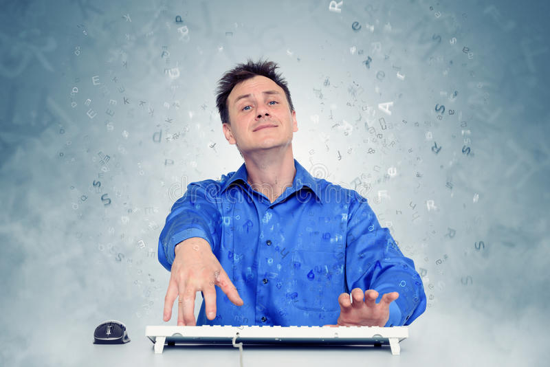Funny programmer at work, inspiration. On background royalty free stock images