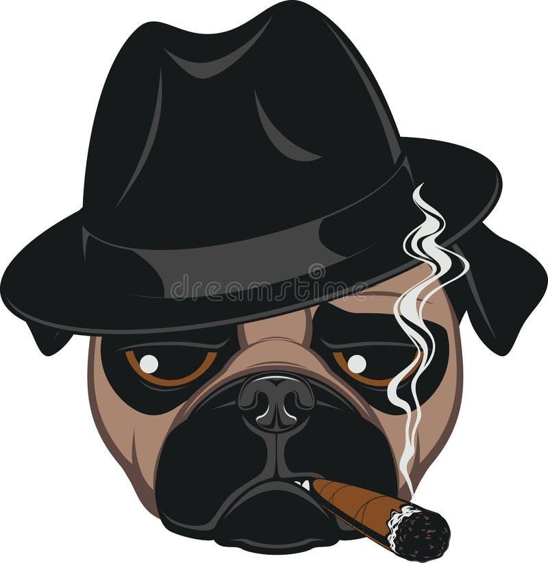 Funny pug with cigar. Portrait of Pug-dog with Cigar, Cool Guy, Gangster Look, Vector Illustration stock illustration