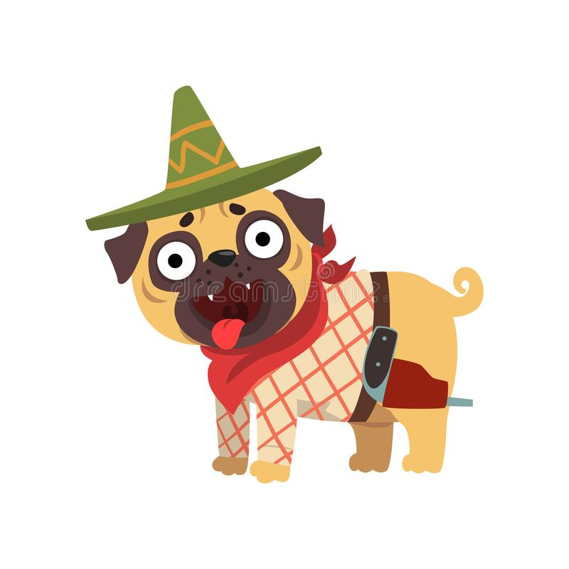 Funny pug dog character wearing Mexican sombrero hat and red poncho vector Illustration on a white background. Funny pug dog character wearing Mexican sombrero royalty free illustration