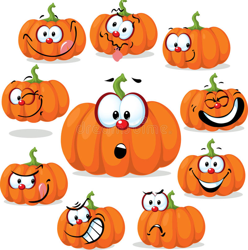 Funny pumpkin with many faces - vector illustration stock illustration