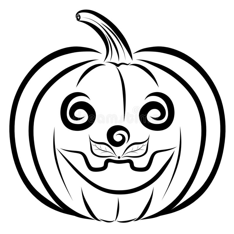 Black And White Cartoon Illustration Of Funny Halloween Pumpkin.. Royalty  Free Cliparts, Vectors, And Stock Illustration. Image 45852747.