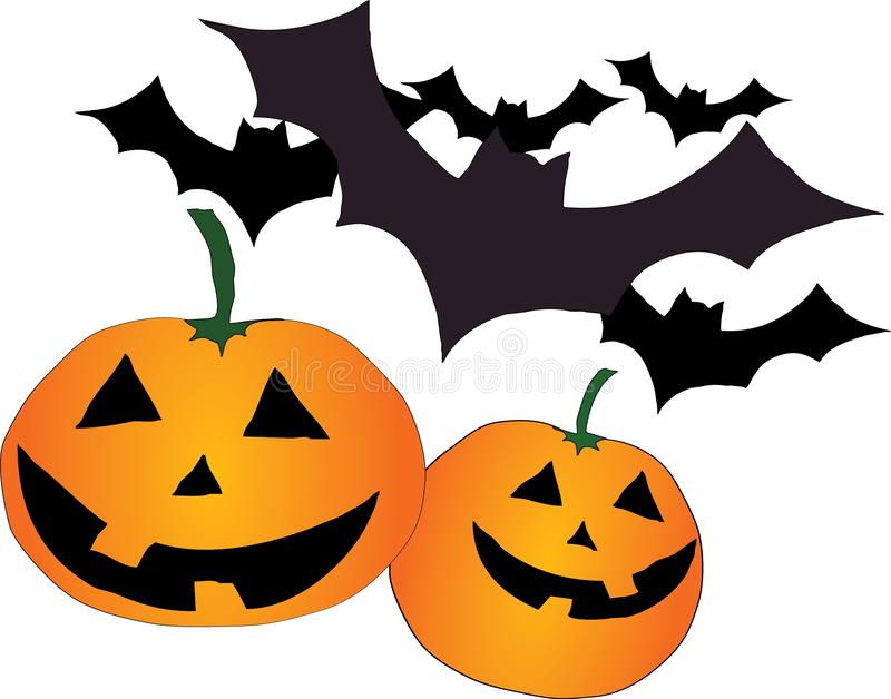 Funny pumpkins and bats. A child`s picture. Halloween. royalty free stock photography