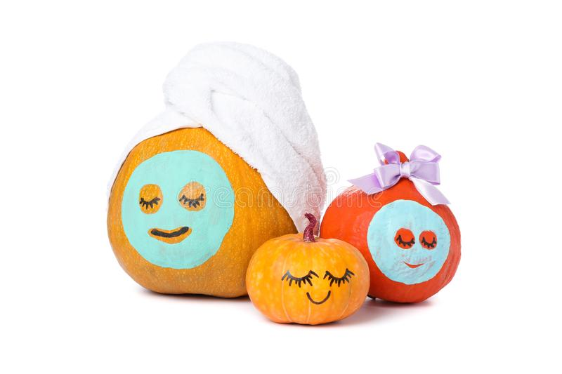 Funny pumpkins isolated on white background royalty free stock photography