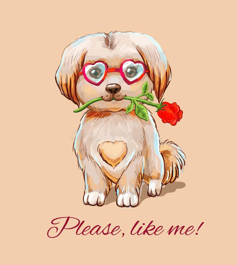 Funny puppy in glasses - hearts with with a red rose in the teeth. Little fluffy puppy in glasses sits with rose. Cute illustration with appeal `Please, like me stock illustration