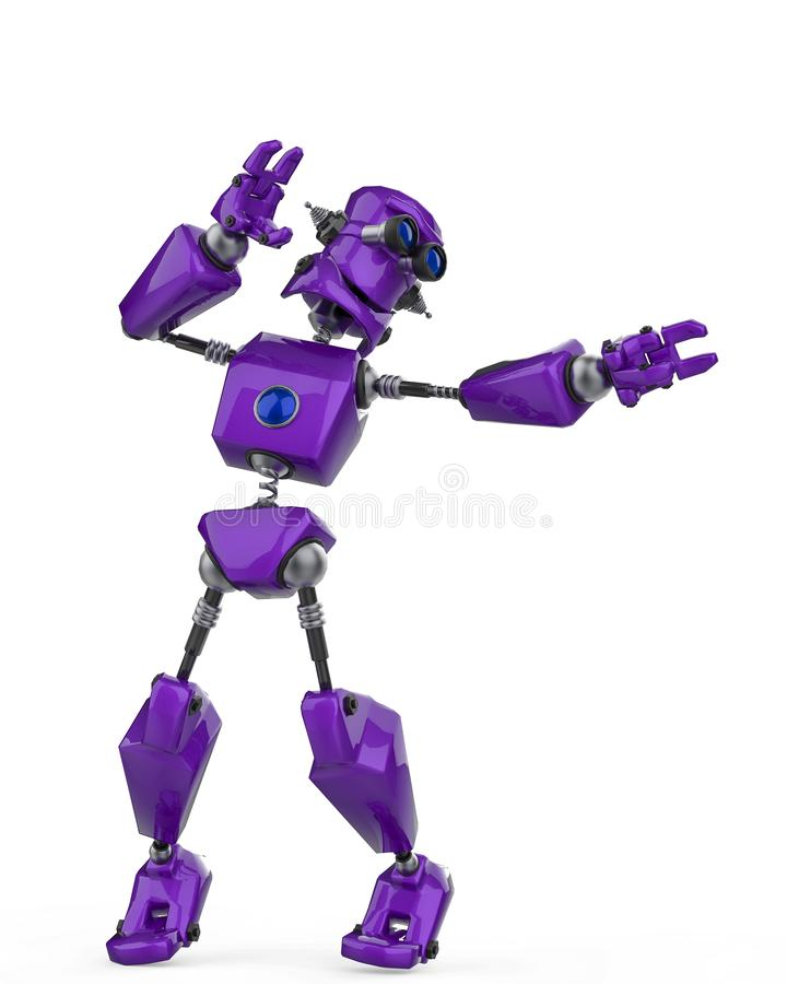 Funny purple robot cartoon air surf in a white background vector illustration