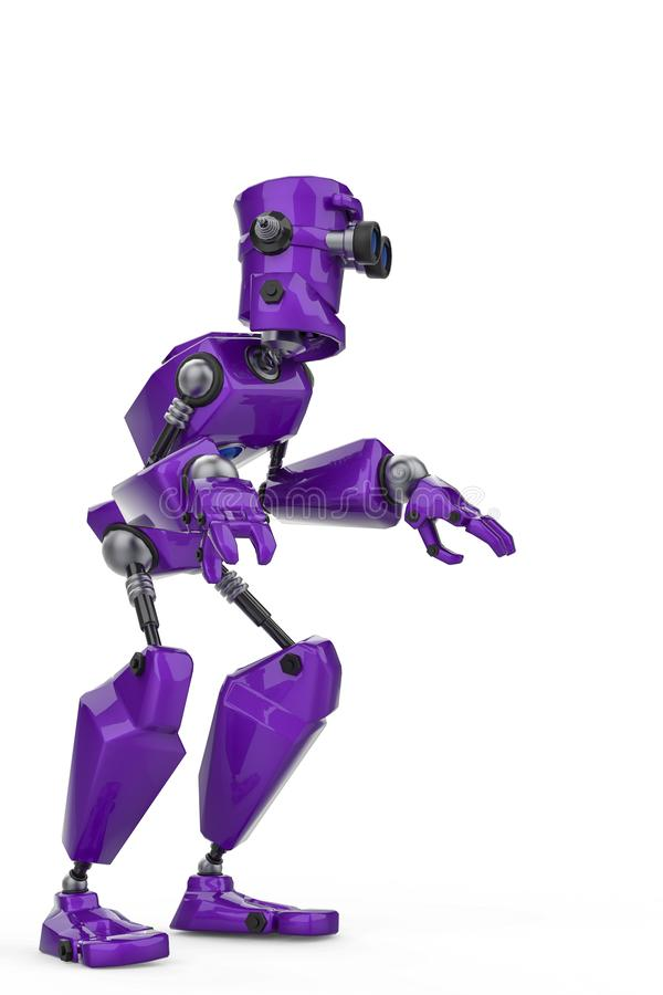 Funny purple robot cartoon doing a what is up sose in a white background. This guy will put some fun in yours creations, 3d illustration royalty free illustration