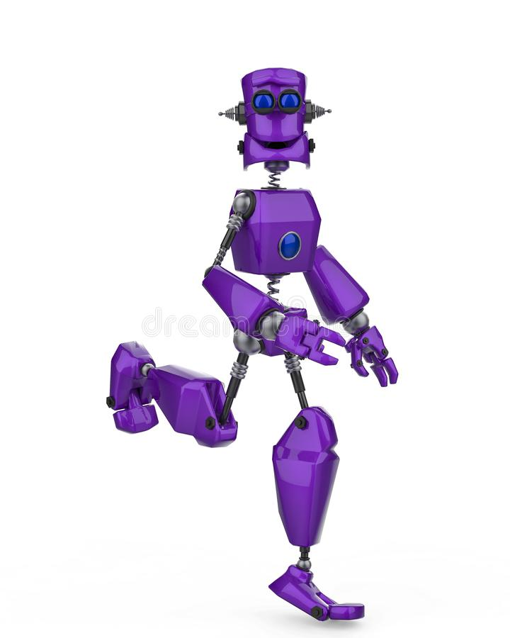 Funny purple robot cartoon running happy in a white background stock illustration