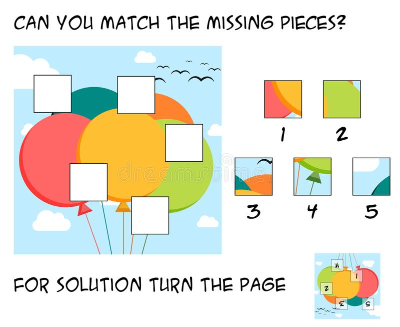 Funny puzzle game for children - mach the missing pieces into th royalty free illustration