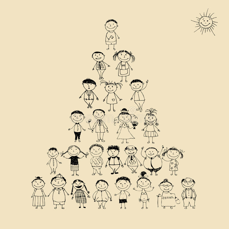 Download Funny Pyramid With Happy Big Family Smiling Stock Vector - Image: 16494266