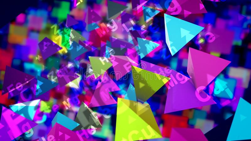 Funny Pyramids With Chemical Symbols. A hilarious 3d illustration of sparkling multicolored pyramids with the signs of chemical elements flying and playing in royalty free illustration