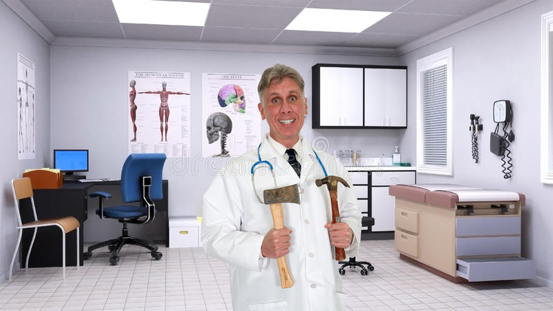 Funny Quack Doctor, Hospital Room stock photography