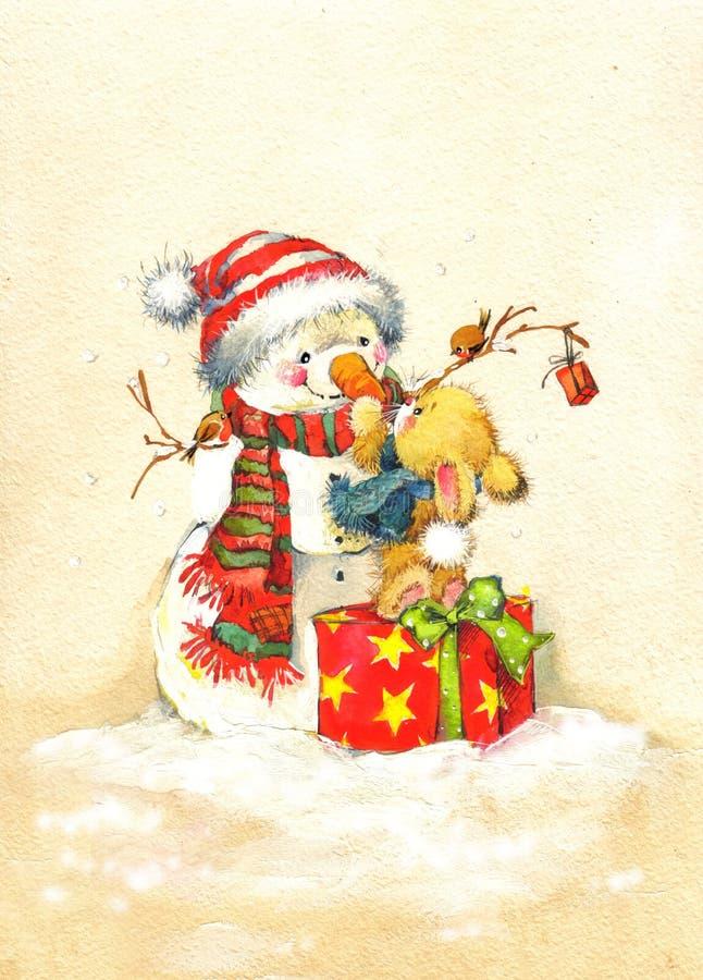 Funny rabbit Christmas watercolor vintage background stock illustration