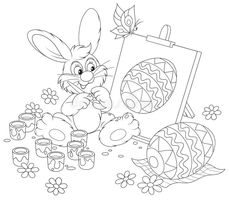 Easter Bunny artist. Funny rabbit drawing a decorated Easter egg to the upcoming holiday, black and white outline illustration for a coloring book