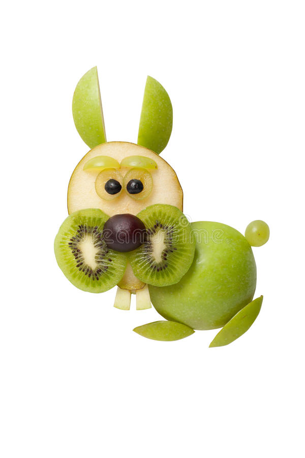 Funny rabbit made of fruits. On background stock photo