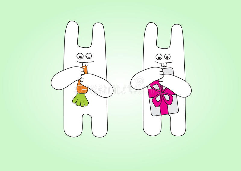 Funny rabbits with carrot and gift stock illustration