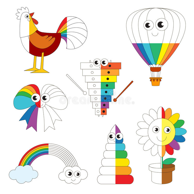 Funny Rainbow Colorful Images, the big kid game to be colored by example half. stock illustration