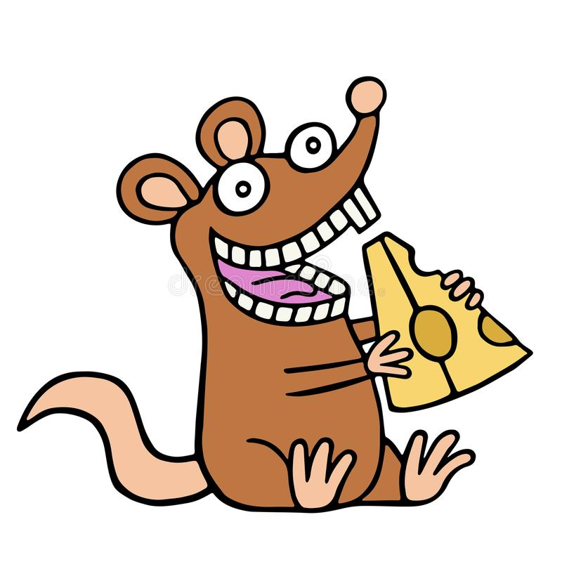 Funny rat eating a piece of cheese. Vector illustration. stock illustration