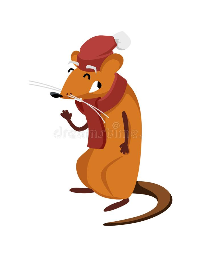Funny rat smiles and waves a paw. Vector isolated illustration stock illustration