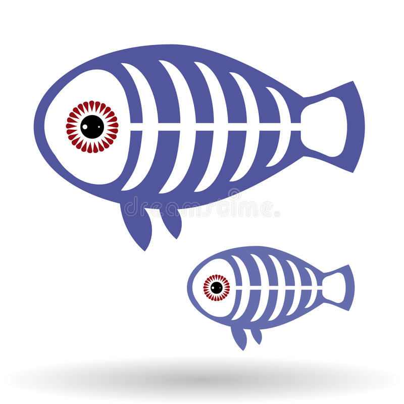Funny X-ray fish on a white background. vector illustration